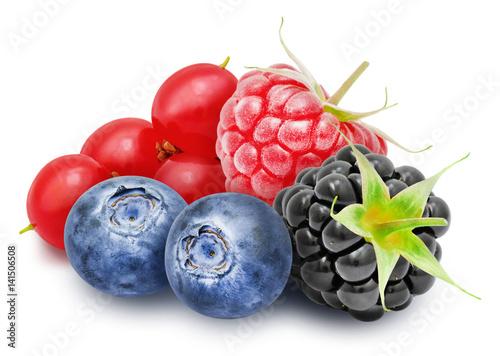 Photo Fresh ripe redcurrant, blackberry, raspberry, blueberry berries isolated on white background