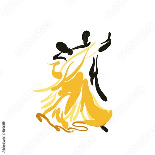 Photo Sketch of a dancing couple.Vector.