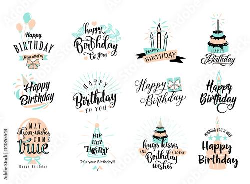 Wallpaper Mural Vector illustration of Happy Birthday badge set