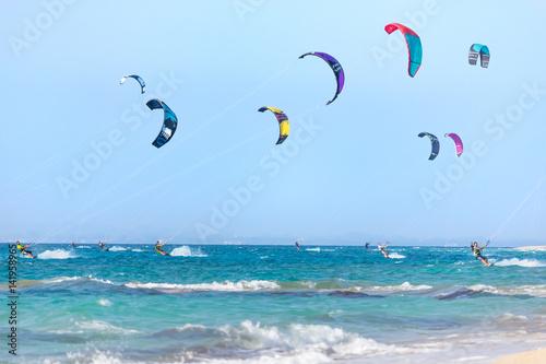 Kitesurfers on the Lefkada island, Greece.