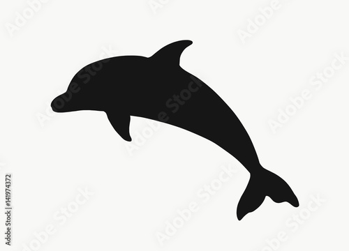 Canvas Black silhouette of a dolphin