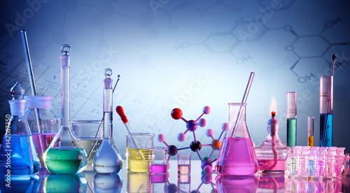 Laboratory Research -  Scientific Glassware For Chemical Background