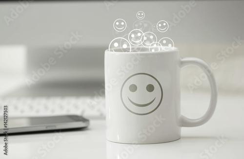tazza, risveglio, ottimismo, felicità Fototapet