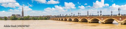 Old stony bridge in Bordeaux