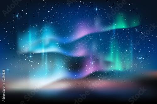 Zorzy niebieskie niebo i mnóstwo gwiazda w formie milky sposób, astronomii tło, Wektorowa ilustracja