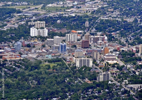 Photo aerial view of  the downtown area Kitchener Waterloo, Ontario Canada