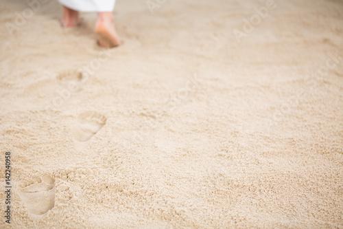 Photo Jesus leaving footprints in sand