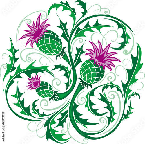 Canvas-taulu beautiful round vignette in Celtic style with flowers thistle