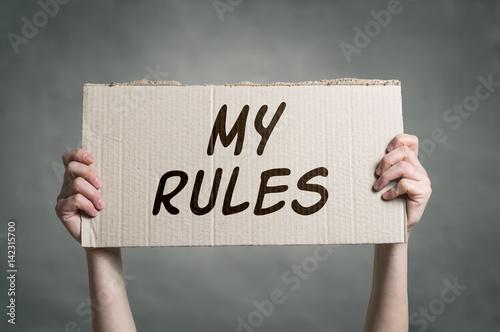 Obraz na plátně MY RULES  message