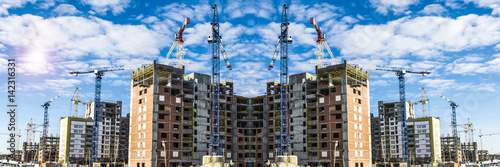 Panorama of the construction of modern residential district