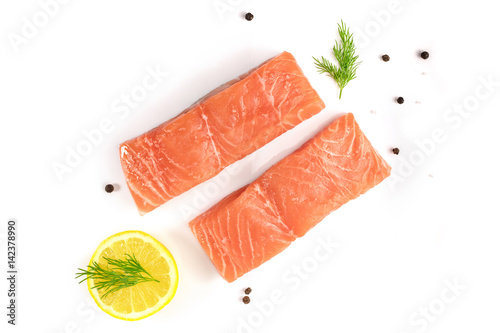 Stampa su Tela Photo of slices of salmon on white with copyspace