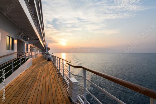 Luxury Cruise Ship Deck at Sunset.