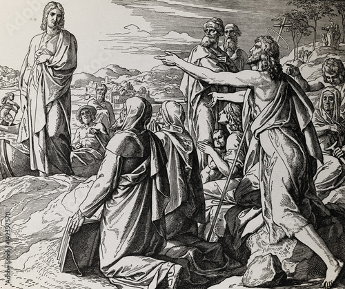 Photo John the Baptist gives testimony about Jesus Christ, graphic collage from engraving of Nazareene School, published in The Holy Bible, St