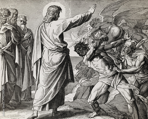 Canvas-taulu Jesus restores possesed man, graphic collage from engraving of Nazareene School, published in The Holy Bible, St