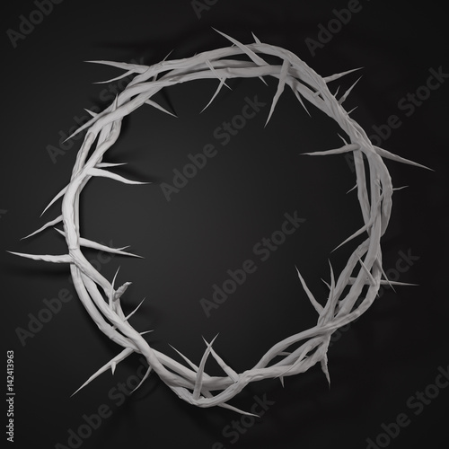 Tela Crown of Thorns 3D Rendering Centre From Above Empty Space Dark Background