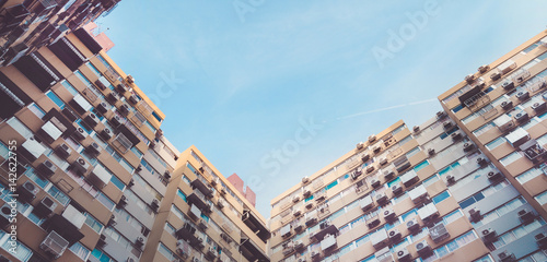 apartment building , vintage tone