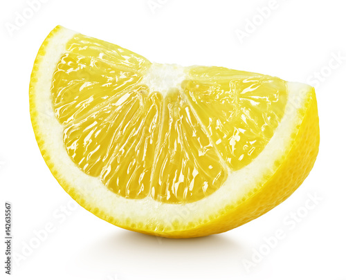 Ripe slice of yellow lemon citrus fruit isolated on white background with clipping path