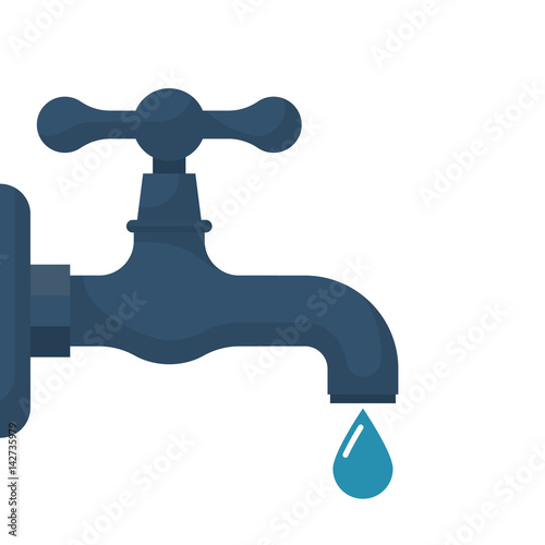 Photo Water tap with falling drop