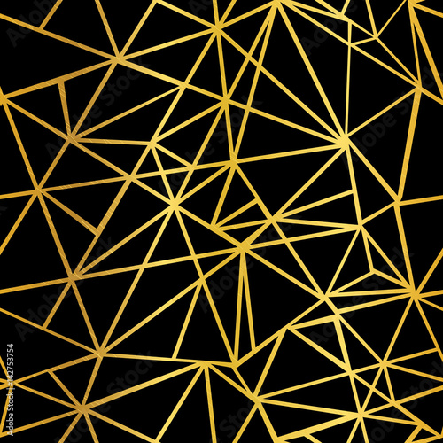 Vector Black and Gold Foil Geometric Mosaic Triangles Repeat Seamless Pattern Background. Can Be Used For Fabric, Wallpaper, Stationery, Packaging.