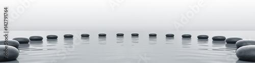 Photo Zen stones panorama in the sea