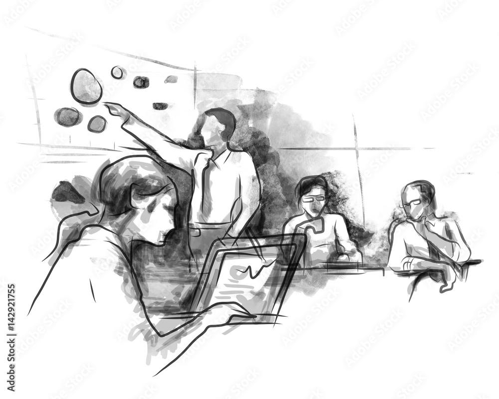 Partnerzy biznesowi omawianie pomysłów na spotkanie w biurze podczas otwierania laptopa szkic strony rysunku kolor wody <span>plik: #142921755 | autor: bakhtiarzein</span>