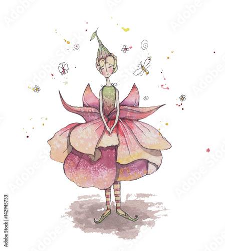 Fototapeta Wróżka fuksja z motylami. Akwarela
