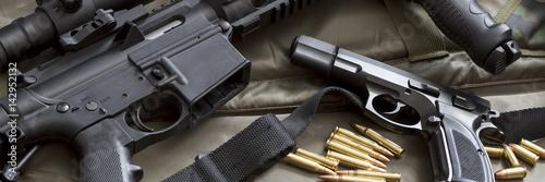 Handgun with rifle Fototapet