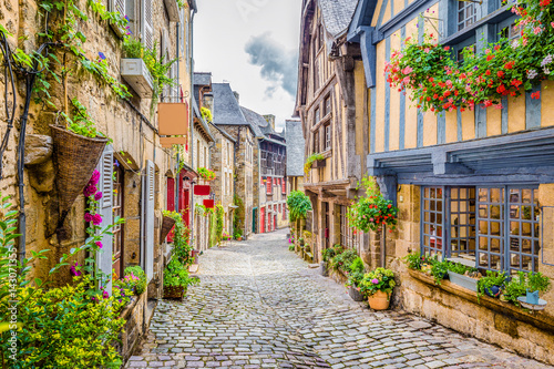 Obraz na płótnie Beautiful alley scene in an old town in Europe