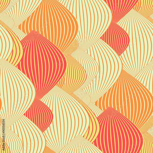 asian seamless texture with chains of lanterns in orange Fototapeta