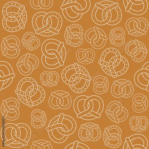 Canvas Print Seamless pattern of outline pretzel, for Oktoberfest backdrop