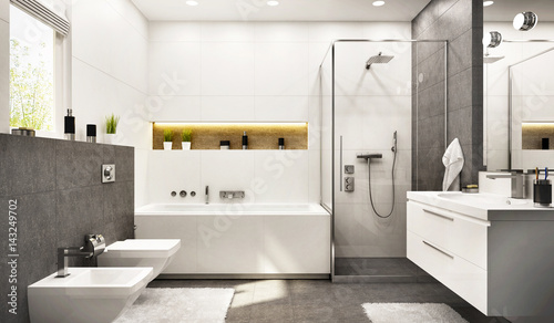 Photo Modern bathroom white with gray