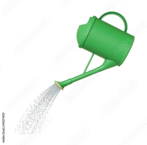 Fototapeta water pours from a watering can on white background