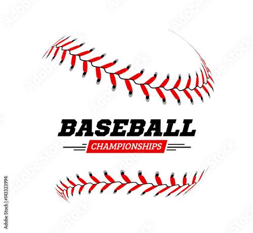 Canvas Print Baseball ball on white background.