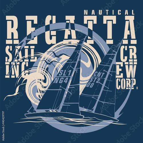Obraz na płótnie Sailing boats regatta with a blue background