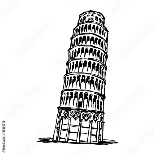 Obraz na plátně leaning tower of pisa - vector illustration sketch hand drawn isolated on white