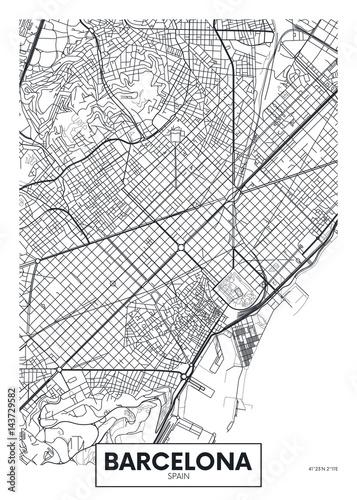 Fototapeta premium Wektor plakat mapa miasta Barcelona