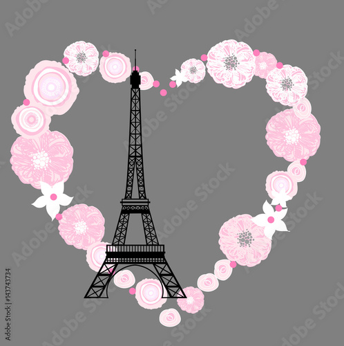 Eiffel tower and flowers.