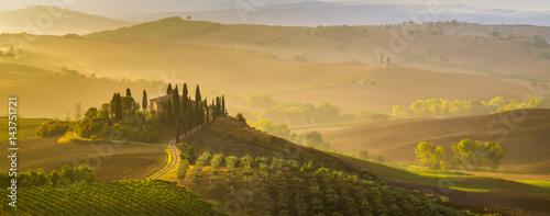 Fototapeta premium Bajkowy, mglisty poranek w najbardziej malowniczej części Toskanii, doliny Val de Orcia