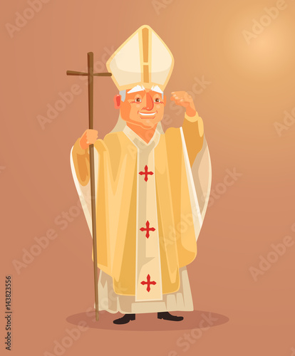 Fotografia Happy smiling catholic priest mascot character dressed in white gold clothes