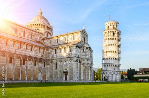 Fototapeta Sunset view of Leaning Tower of Pisa, Tuscany, Italy