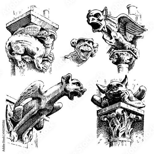 set of Gargoyles Chimera of Notre-Dame de Paris, engraved, hand drawn vector ill Fototapet