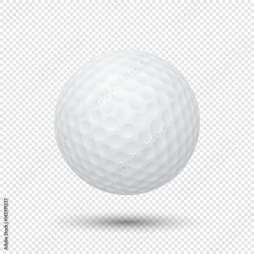 Vector realistic flying golf ball closeup isolated on transparent background Fototapet