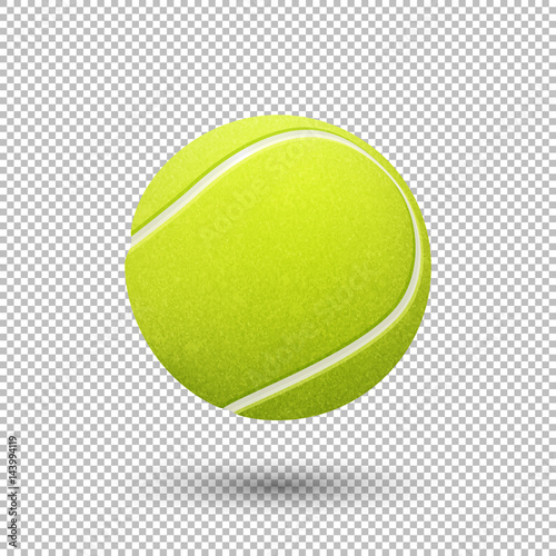Canvas Print Vector realistic flying tennis ball closeup isolated on transparent background