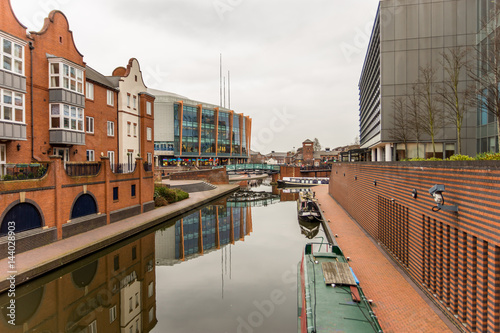 Fotografering Day View of boat canal in Coventry City Centre