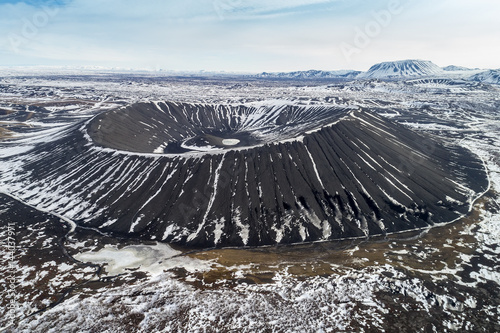 Fotografia Aerial view of Hverfjall Crater, Myvatn, Iceland