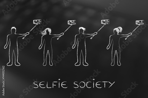 Fototapeta selfie society people taking self-portraits
