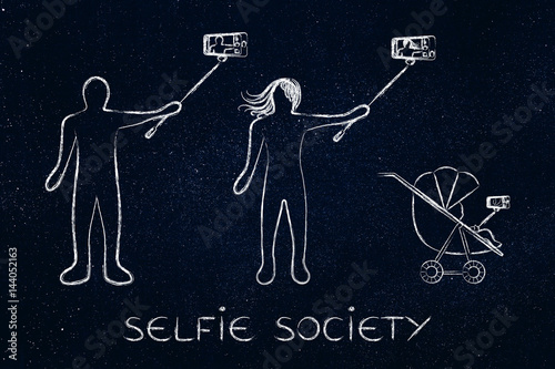 Obraz na plátně selfie society people taking self-portraits
