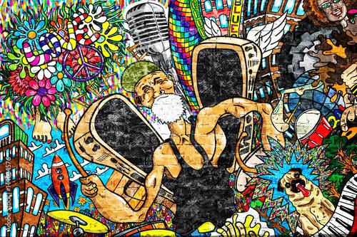 Fototapeta premium Muzyczny kolaż na wielkim ściana z cegieł, graffiti