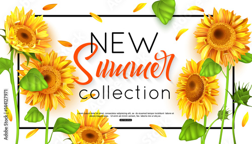 Obraz na płótnie New summer collection with sunflower for banner