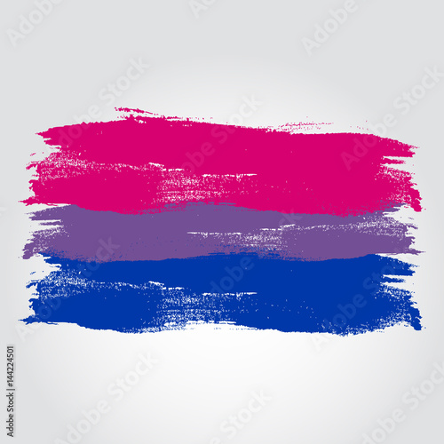 Canvas Print Bisexual pride flag in a form of brush stroke